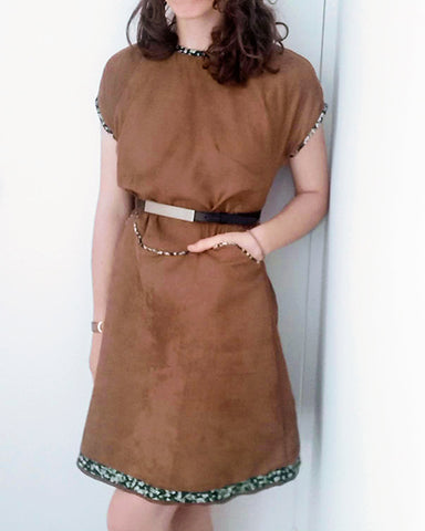 Astrid make of April A-line dress in brown, with belt