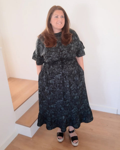 Forget-me-not Lola dress in maxi length, front view