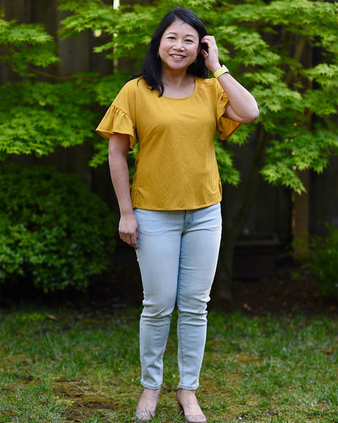 Forget-me-not Lola blouse in yellow fabric, front view