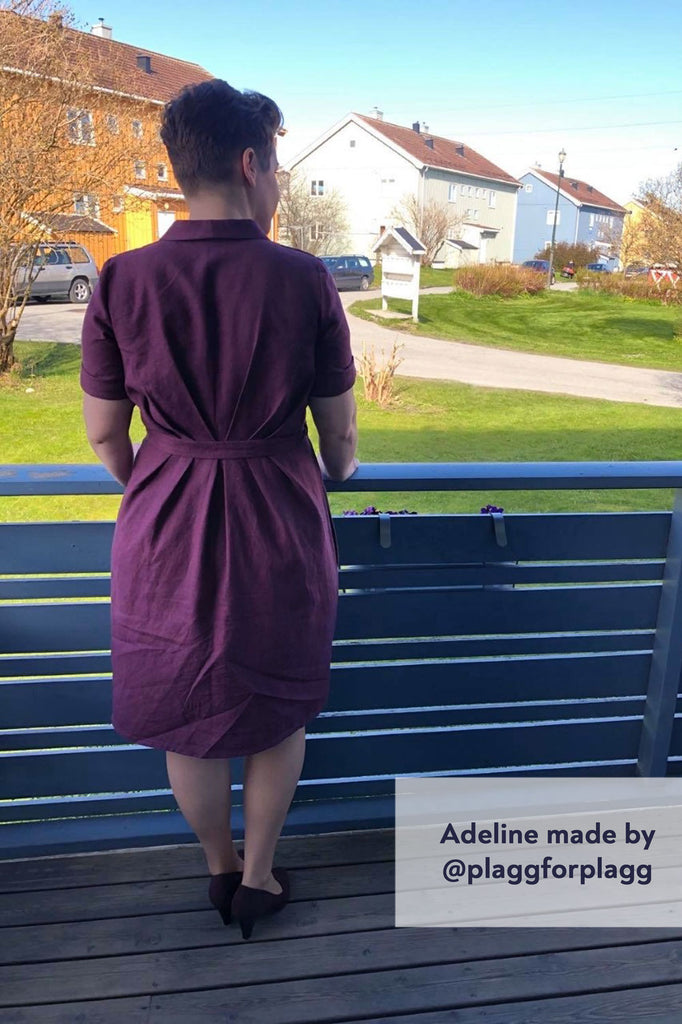 Forget-Me-Not Adeline wrap dress tester make in purple, rear view