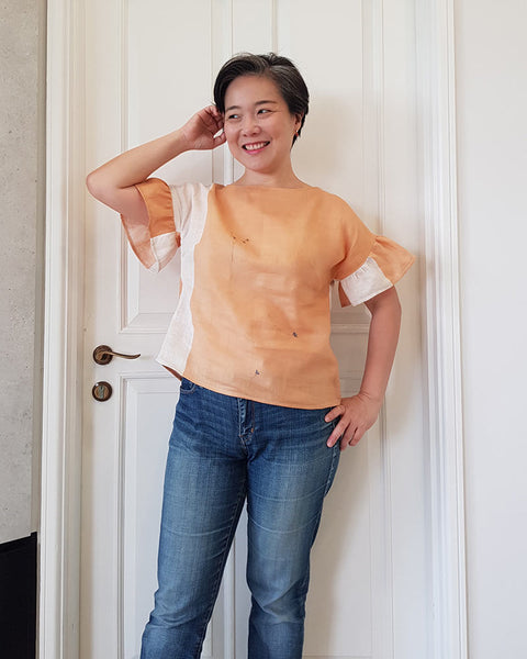 Apricot-coloured Forget-me-not Lola blouse in linen, front view