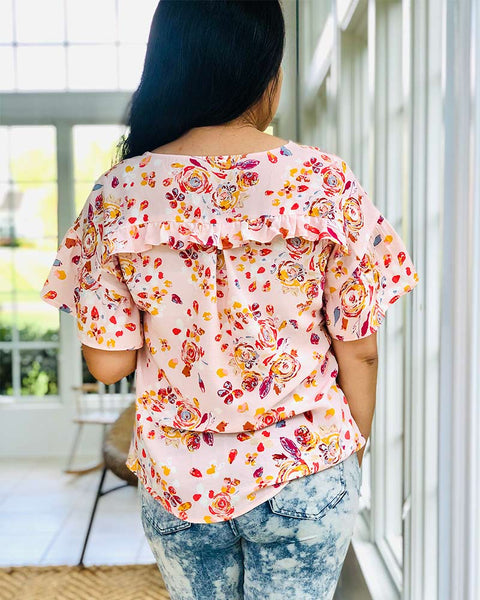 Forget-me-not Lola blouse with ruffle sleeves in floral print, back view