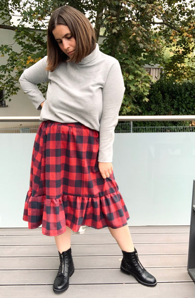 Forget-Me-Not Ella  skirt pattern make in flannel by Dana