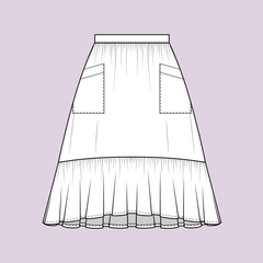Forget-me-not Ella skirt pattern, Front, mid length, line drawing