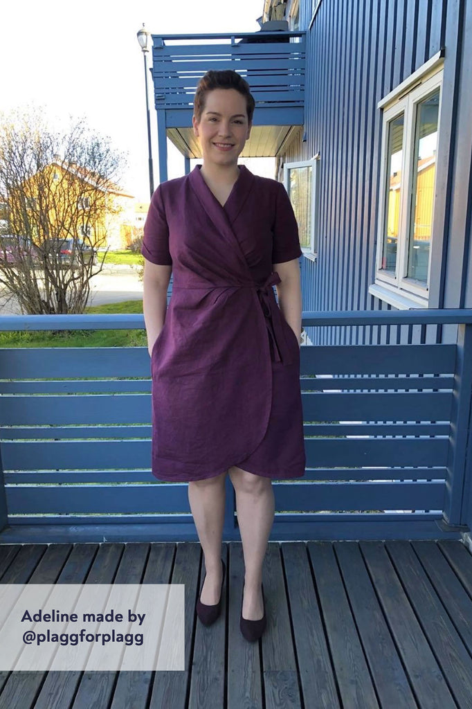 Forget-Me-Not Adeline wrap dress tester make in purple