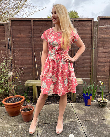 April A-Line dress in pink floral print by Holly