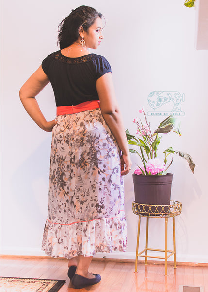 Forget-Me-Not Ella make, with contrast waistband and a ruffle seam by Anjori
