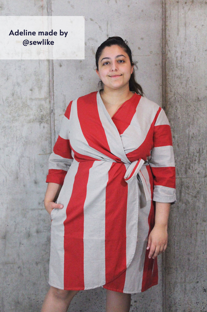 Forget-Me-Not Adeline wrap dress tester make in red stripe