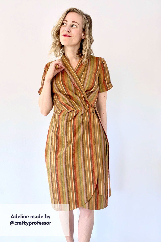 Forget-Me-Not Adeline wrap dress tester make in yellow stripe with shawl collar