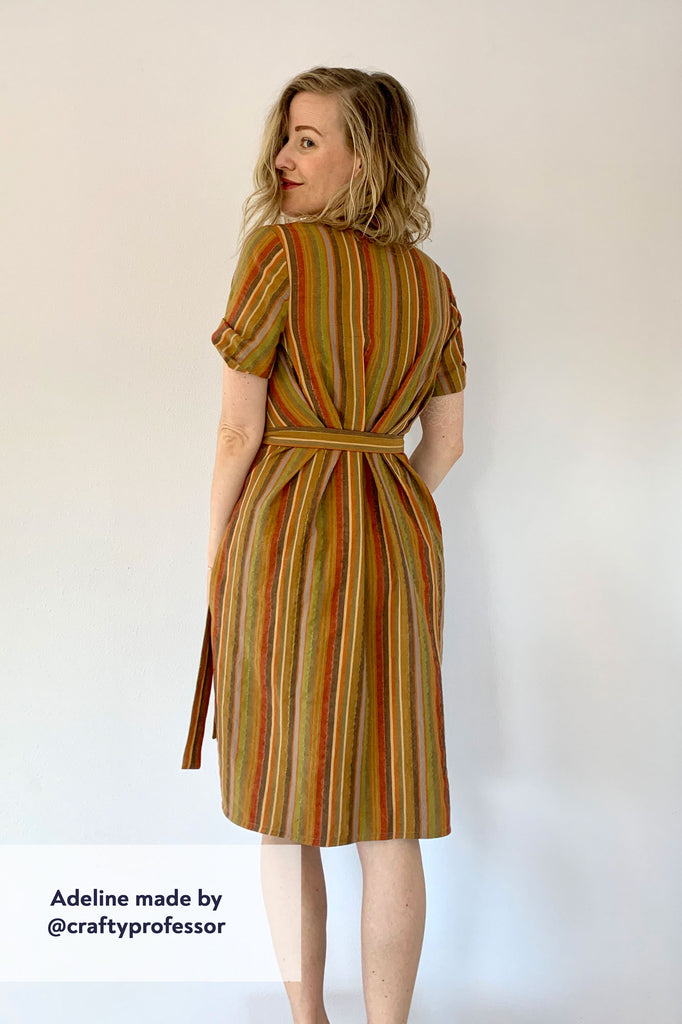 Forget-Me-Not Adeline wrap dress tester make in yellow stripe with shawl collar, rear view