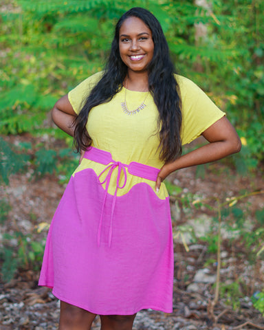 April A-Line Dress make in yellow and pink by Keira