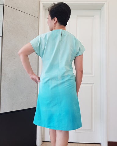 Boon April A-Line dress make in blue gradient fabric, rear view