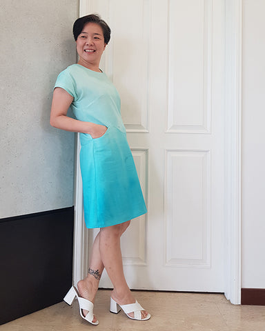 Boon April A-Line make in blue gradient fabric