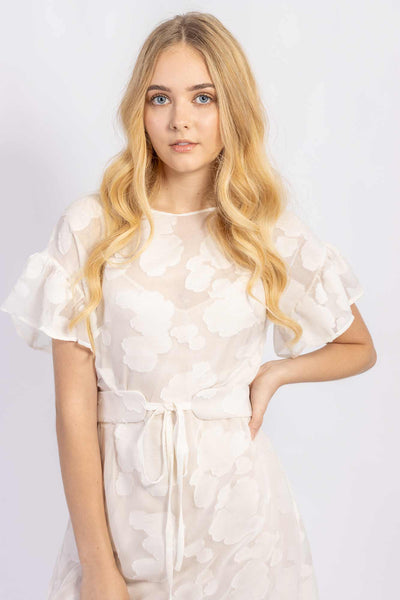 Forget-me-not Lola dress with ruffle sleeve and Gemma tie belt in sheer patterned silk, close up view