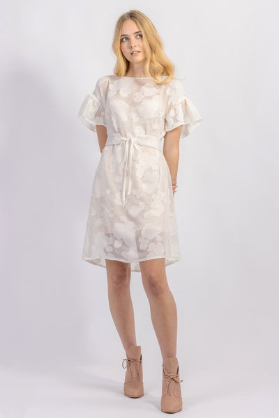 Forget-me-not Lola dress with ruffle sleeve and Gemma tie belt in sheer patterned silk, front view