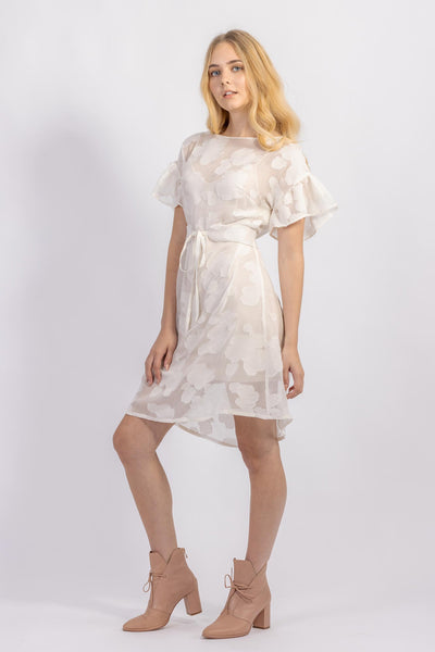 Forget-me-not Lola dress with ruffle sleeve and Gemma tie belt in sheer patterned silk, three-quarter view