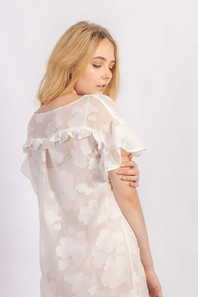 Forget-me-not Lola dress with ruffle sleeve in sheer patterned silk, close up back view