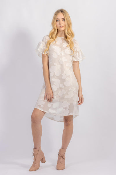 Forget-me-not Lola dress with ruffle sleeve in sheer patterned silk, front view
