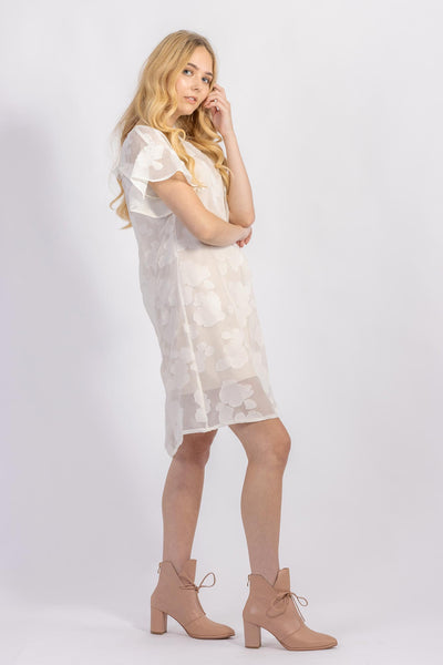 Forget-me-not Lola dress with ruffle sleeve in sheer patterned silk, side view