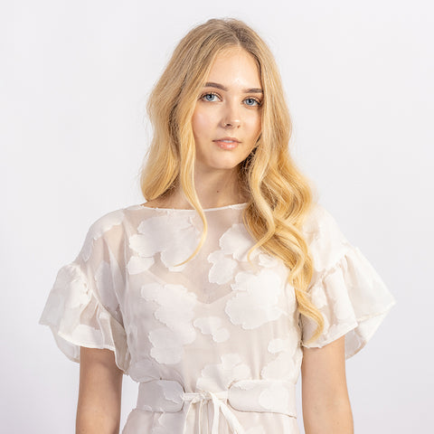 Lola with ruffle sleeve in sheer silk, close up view of front