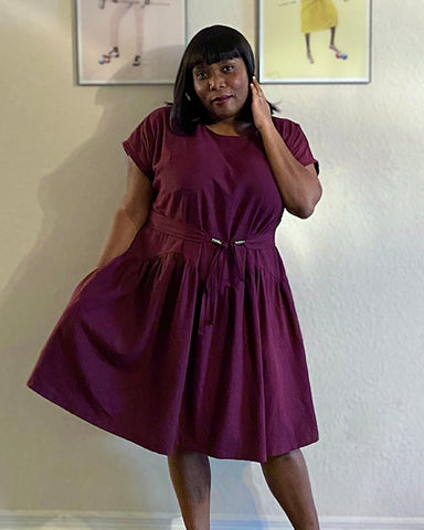 Mary's April A-Line dress and Gemma belt make in deep purple