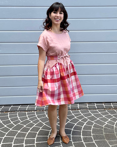 Nicole's April A-Line dress and Gemma belt make in pink and gingham