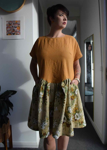 Rhi's April A-Line dress make in yellow and green floral