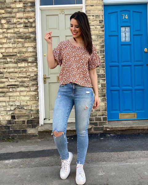 Forget-me-not Lola blouse in red ditsy print, front view