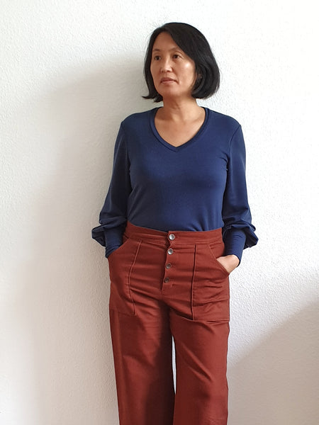 Forget-Me-Not Patterns Vera shirt pattern test make in french terry