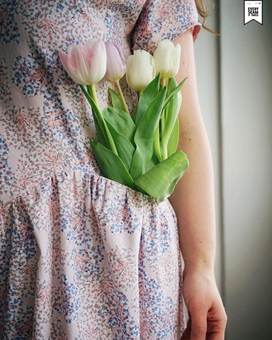 Veronique April A-Line dress: pocket detail with tulips tucked in pocket
