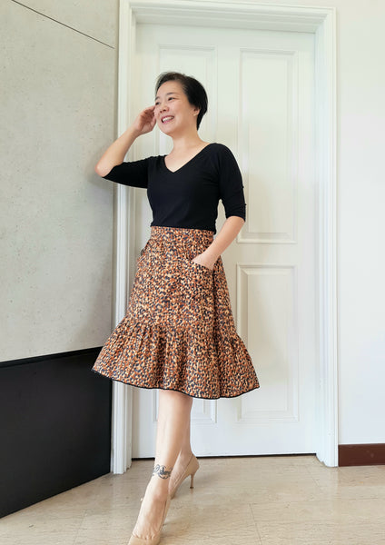 Forget-Me-Not Ella skirt pattern make, by Boon Kuan in rayon, short version, with contrast thread
