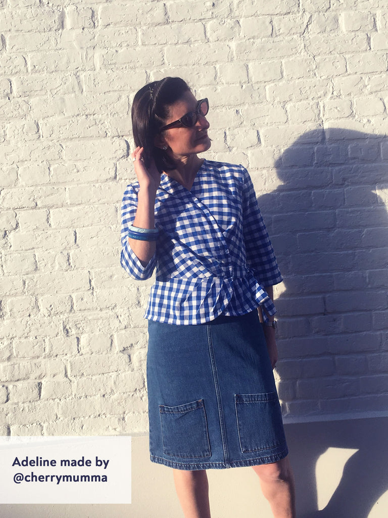 Forget-Me-Not Adeline wrap top tester make in blue gingham