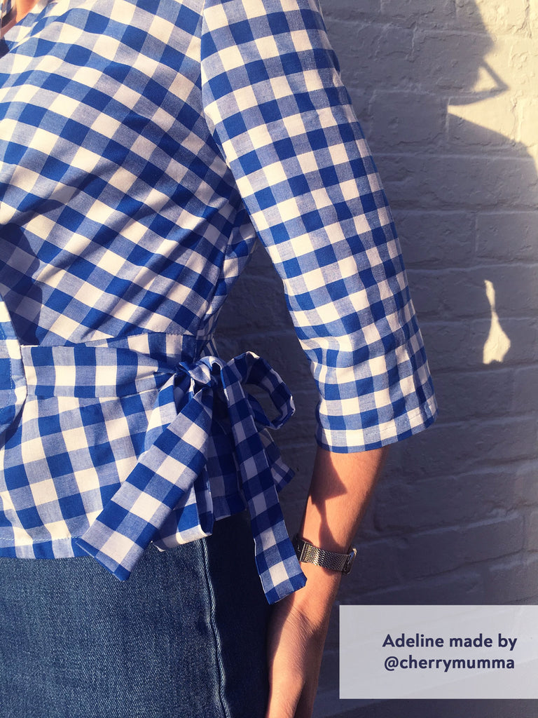 Forget-Me-Not Adeline wrap shirt test make in blue gingham