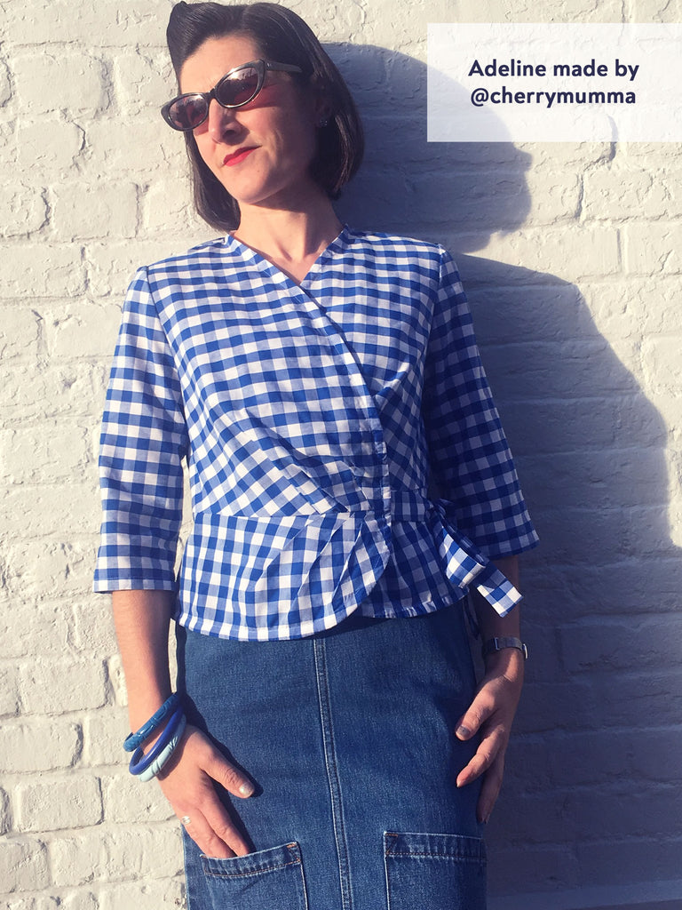 Forget-Me-Not Adeline wrap shirt tester make in blue gingham