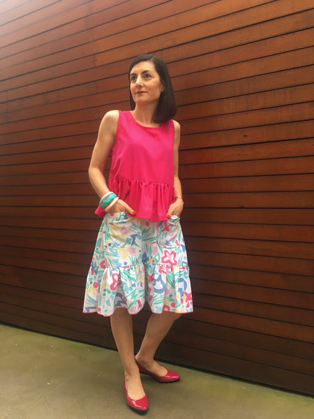 Forget-Me-Not Ella skirt pattern make, mid length with patch pocket, by Renee