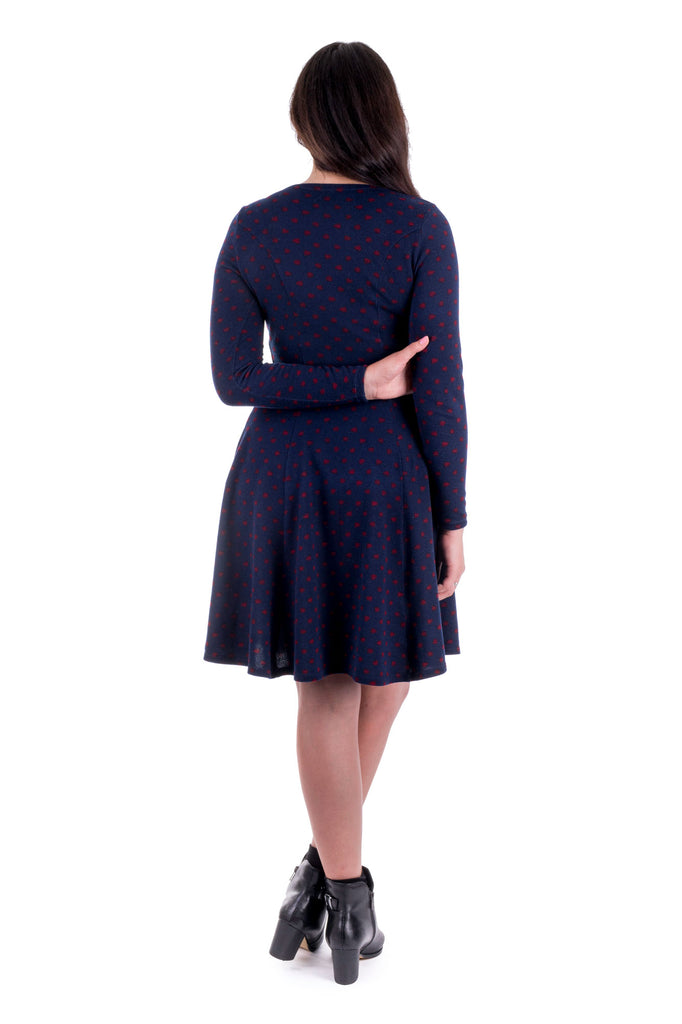 Navy Clementine dress with cowl neck - back
