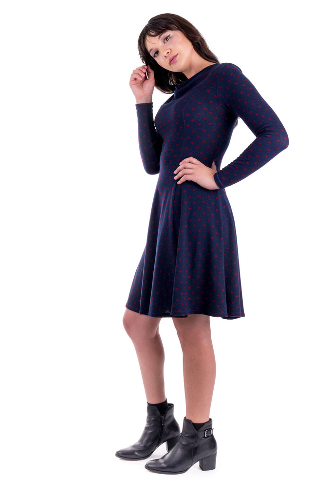 Navy Clementine dress with cowl neck