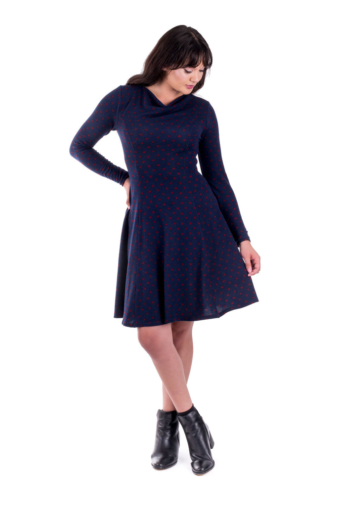 Navy Clementine dress with cowl neck - front