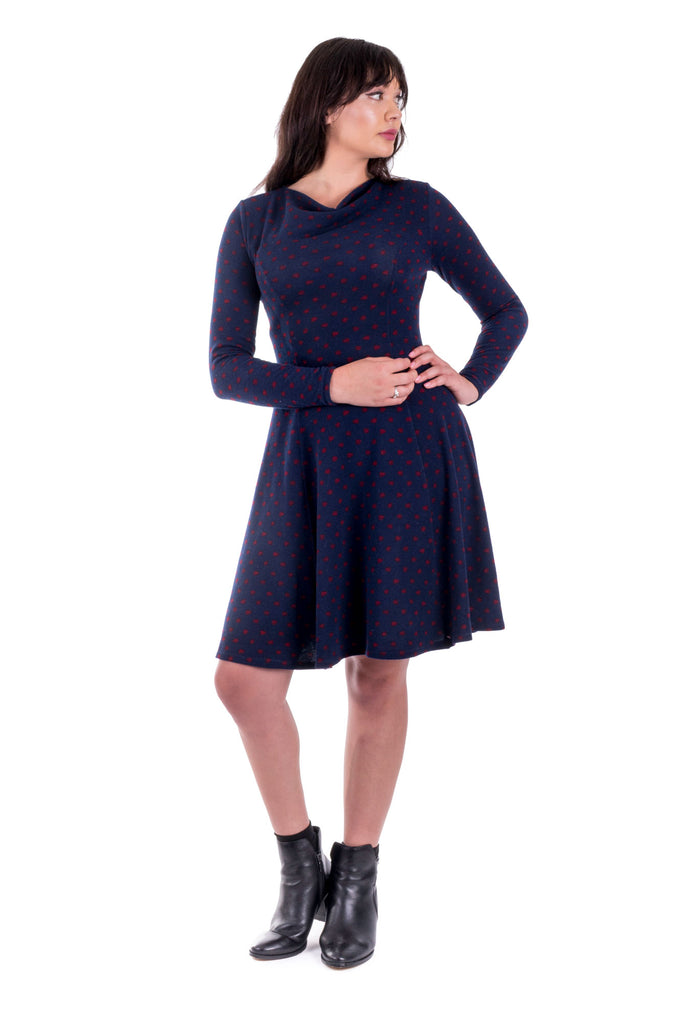 Navy Clementine with cowl neck - front