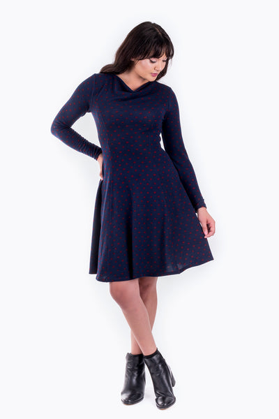 Forget-Me-not Clementine princess seam cowl neck dress pattern