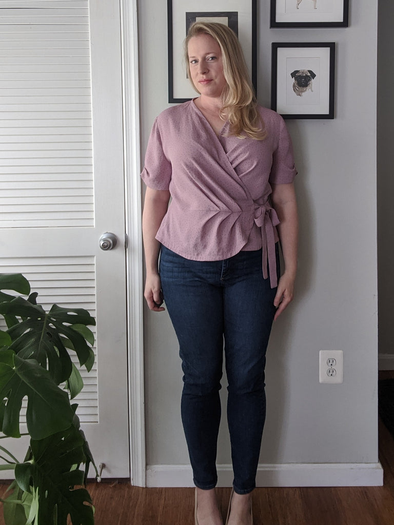 Forget-Me-Not Adeline wrap top tester make in pink