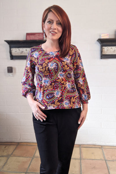 Forget-Me-Not Patterns Vera blouse pattern test make, print with short cuffs