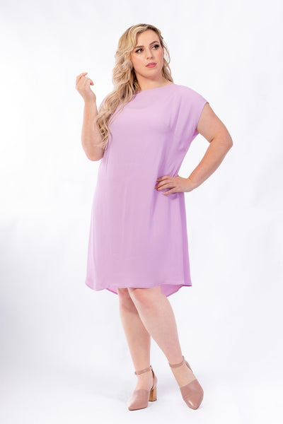 Forget-Me-Not Lola short sleeve dress pattern in rose, with no tie, full length photo