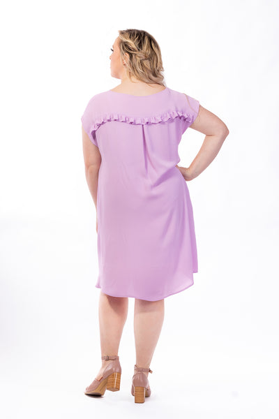 Forget-Me-Not Lola short sleeve dress pattern in rose, full length photo, back view