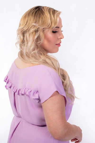 Forget-Me-Not Lola short sleeve dress pattern in lilac, detail shot of rear showing back ruffle