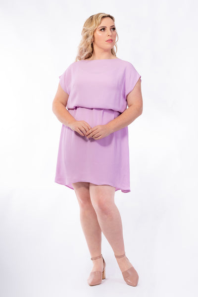 Forget-Me-Not Lola short sleeve dress pattern in rose, worn with tie, full length photo