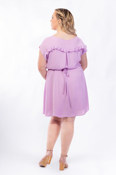 Forget-Me-Not Lola short sleeve dress pattern in lilac, full length rear photo showing back ruffle