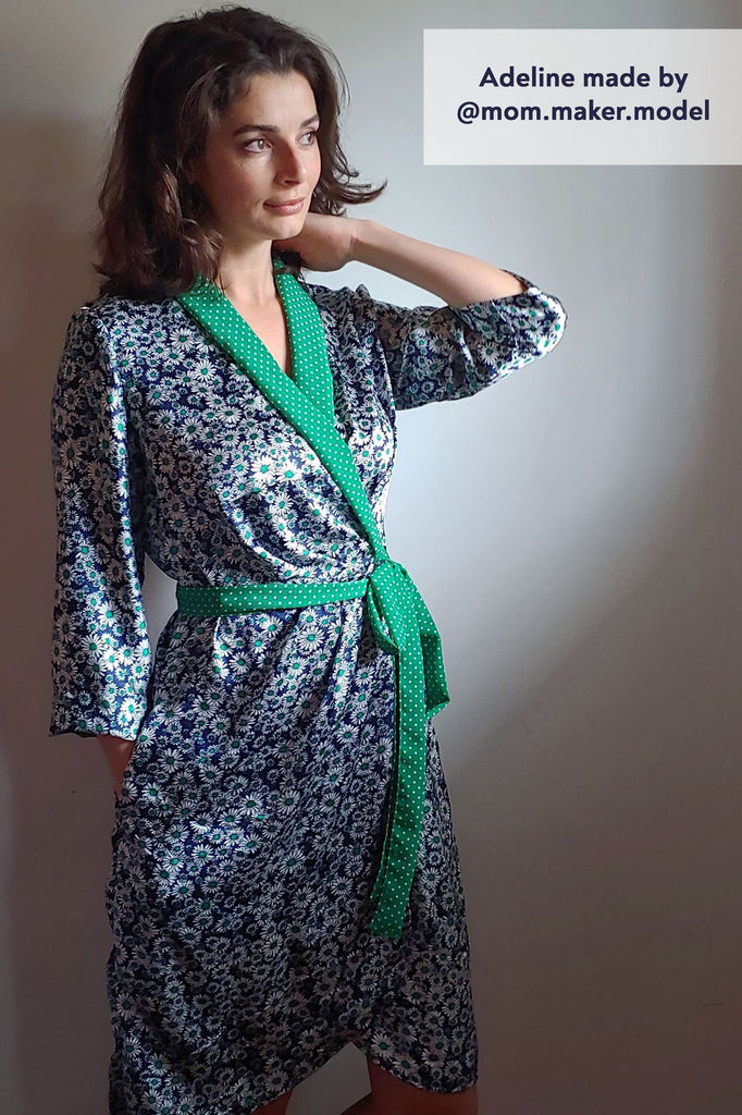 Forget-Me-Not Adeline wrap dress tester make in silver with green contrast collar