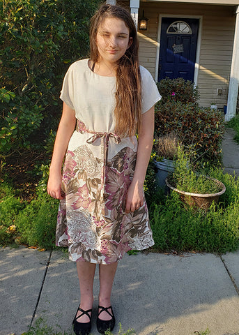April A-Line dress with contrasting floral pattern skirt by Yvonne