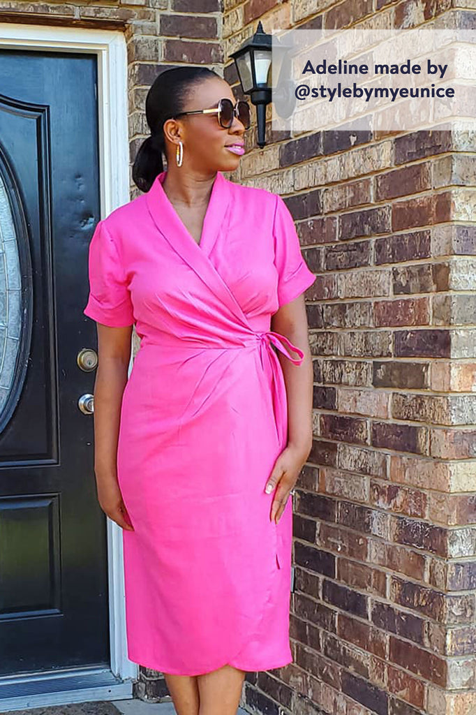 Forget-Me-Not Adeline wrap dress tester make in hot pink